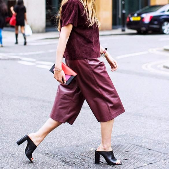 Street-Style-culottes-pants-trousers-burgundy-leather-granate-piel-fashion-moda-trends-tendencias-otoño+2014-fall+2014-front+row+blog
